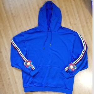 Pink Dolphin Embroidered Logo Sleeve Blue Hoodie